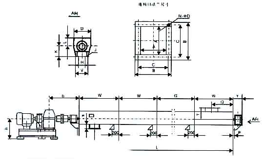 螺旋输送机外形安装示意图